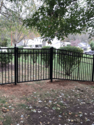 A black metal fence after a fence replacement in Hillside, NJ
